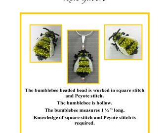 Three Dimensional Bumblebee Beaded Bead Instructions PDF file