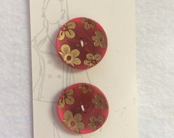 "Belle Buttons by Dritz Red with Gold Flower Buttons Size 7/8"" (23mm)"