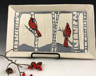 Cardinal on white Sgraffito Serving Tray