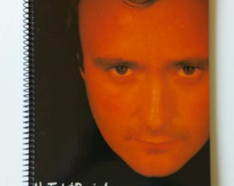 """Phil Collins Spiral Notebook Hand Made from Recycled Vinyl Record Album Cover """"No Jacket Required"""""""