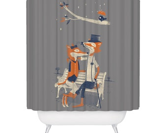 Fox, Shower Curtain, Nighttime Nuzzle, Beautiful Animal Shower Curtain - Made in USA - Great Decoration Gift for Bathroom
