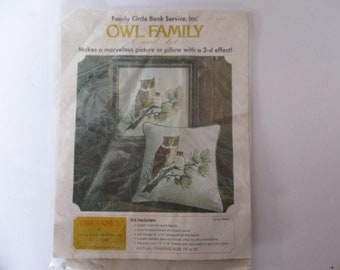 Crewel Embroidery Kit, Vintage Owl Family Crewel Embroidery Kit, Owl Embroidery Crewel Pillow Kit, Owl Crewel Embroidery Picture Kit, Owl