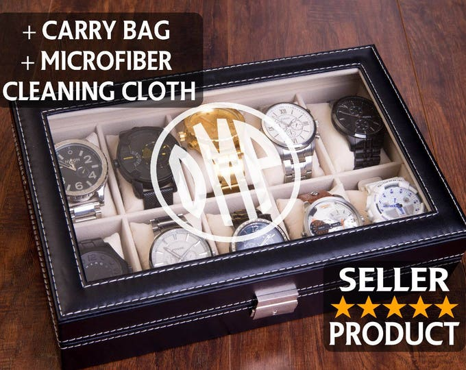Personazlied Watch Box, Mens Watch Case, Custom Engraved Watch Organizer, Jewelry Organizer, Man Gift, Watch Display Box, Monogram