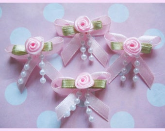 Satin Ribbon Bow w/ Rose & Beads Appliques -Pink set of 4