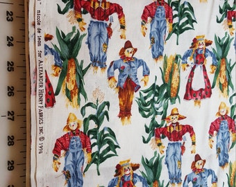 vintage Cotton Scarecrow print Alexander Henry just under 4yd