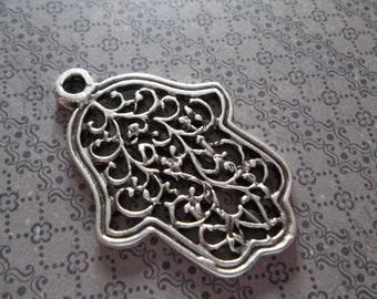 Silver Filigree and Vines Hamsa Hand of Fatima Pendants - Ethnic Style - Oxidized & Antiqued Silver Sterling Plated Pewter - Qty 2
