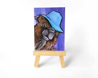 Camel Art, ACEO Painting, Original Art, Animal Portrait, Blue Sun Hat, Zoo Animal, Camel Illustration, Desert Animal, Anthro Art