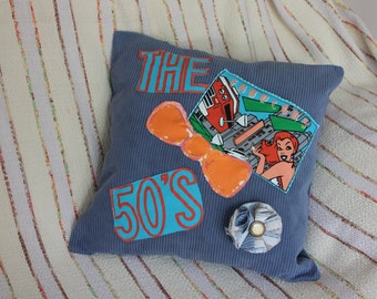 upcycled turquoise fabric pillow cover,The 50's pillow cover,turquoise pillow cover,The fabulous 50's pillow cover,removable flower brooch