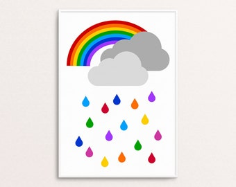 Rainbow and rain clouds print | Scandi style | Home decor | Nursery and children's room | Digital download