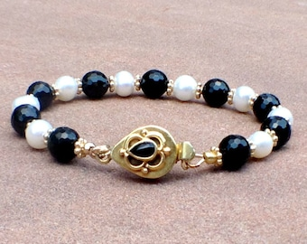 Onyx and Pearl Bracelet - Black and White Jewelry - Yellow Gold Jewellery - Box Clasp - Luxe - Classic - Traditional