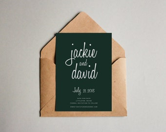 Modern Forest Green Save the Date Printable