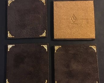 LivraisonUS  Leather bound 4 piece Coaster Set