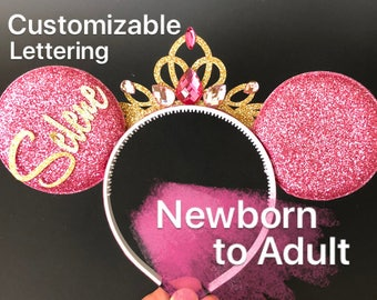 Pink Minnie Ears,Pink Birthday Ear,Aurora Ears,Sleeping Beauty ear,Hot Pink Ear,sleeping beauty theme,Aurora costume,Disney Headband,crown