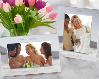 Silver-Plated Picture Frame - 4x6 - Horizontal or Vertical - (c145-1124) - Free Personalization