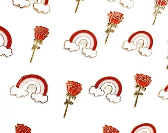 Rose and rainbow enamel pin bundle