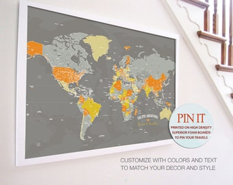 World map push pin world map world map wall art rustic wall world map 24x36 inches world travel honeymoon vacation art travel map gumiabroncs Images