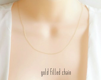 14k Gold Fill Chain Necklace, Simple Gold Chain Necklace, Simple Delicate Dainty Chain Necklace, Plain Chain Necklace, 14k Gold Filled Chain