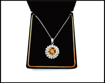 Citrine & Clear CZ Pendant, 16 Inch White Gold Chain, November Birthstone, Enhancer Bale, Citrine Cubic Zirconia, Mothers Day Gift For Her