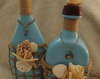 Coastal beach nautical upcycled bottle centerpiece decor set of 2