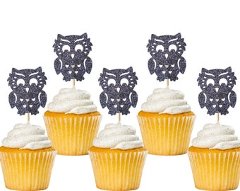 Glitter Black Owl Cupcake Toppers 12CT, Owl Baby Shower, Owl Birthday Party, Woodland Theme Party Decorations - No291