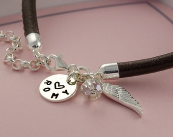 Leather Bracelet-engraved birthstone name bracelet