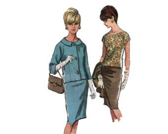 60s Skirt Suit pattern Suit pattern Blouse pattern Pencil Skirt pattern vintage 37-31-41 Shell Blouse Jackie O Suit McCalls 7600