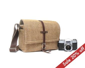 Medium camera messenger bag  - brown herringbone tweed