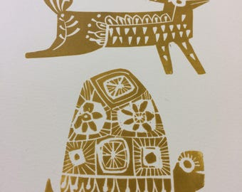 Tortoise and the hare limited edition handmade lino print original, in colour mustard on high quality etching paper. Retro scandinavian.