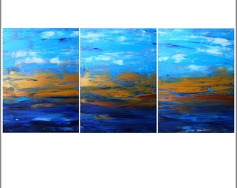 Abstract Triptych. Textured acrylic painting art . Contemporary modern original canvas abstract painting wall art decor. By Alex Senchenko .