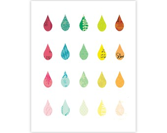 Raindrops of Color - Art Print - Collage Poster Wall Art