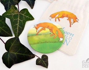 Fox Leaping Fabric Pocket Mirror, Cosmetic Mirror, Makeup Mirror, Gifts for Women, Fabric Covered Mirror, Stocking Filler, Fox Gift