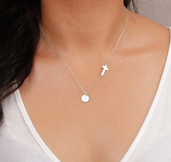 silver sideways cross necklace and initial charm  small cross