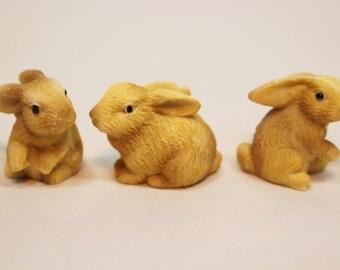 3 Miniature Resin Bunnies, Fairy Gardens, Miniature Rabbit, Miniature Gardens, Terrariums, Dollhouse Miniatures, Miniature Wildlife