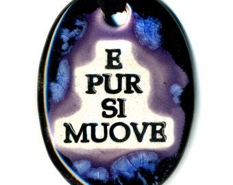 E Pur Si Muove or Ode to Galileo Ceramic Necklace in Purple, Blue and Black