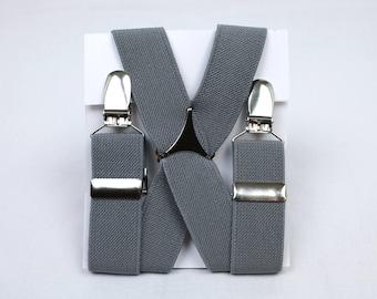 Medium Gray Elastic Suspenders