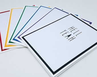 hell yeah note cards, set of six (rainbow colors)