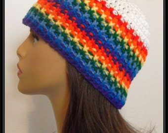 Crocheted Basic Beanie hat!!! Colors of the Rainbow!  Ready to Ship!