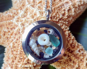 Sanibel necklace - Mini shell necklace - Sanibel Island - Hawaii necklace - Hawaii seashells - Wentletrap shell - Floating locket