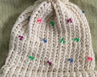 Loom Knit Beaded Hat