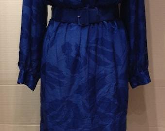 Vintage Pierre Cardin dress blue long sleeves belt size M