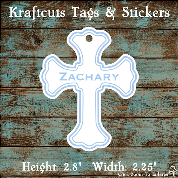 Favor or Gift Tags - Baptism Cross Tag Blue Large #200B - Quantity: 20 Tags