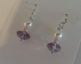 Amethyst and Pearl Earrings   -   #277