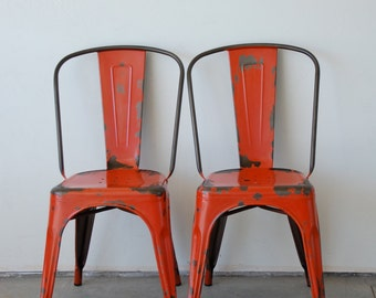 Attirant Custom Painted U0026 Distressed Tolix Style High Back Side Chair Color Of Your  Choice