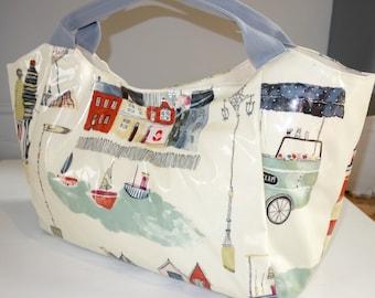 Oilcloth Bella Bag - Seaside Town #1