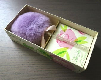 Vintage Powder Puff and Powder by House of Tre Jur, Purple Lambswool Puff with Plastic Glitter Wand and Unopened Powder Box, Orig. Packaging