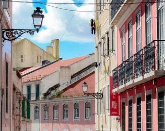 Lisbon Photography, Lisbon, Lisboa, Portugal, Pink, Street Scene, Photography, Fine Art Prints, Travel Photography, Wall Art