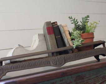 Salvaged Cast Iron Fireplace Insert/Grate, Unique Ornate Vintage Cast Iron