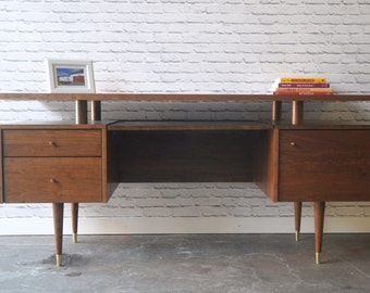 Clinton Desk - Solid Cherry - Teak Stain - Mid Century Modern Inspired