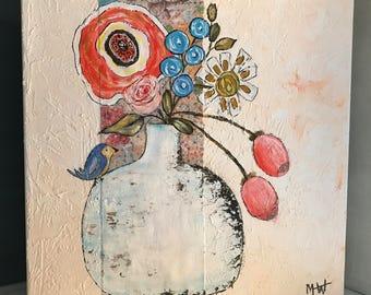 Orange Poppy Whimsical Blue Bird Floral 10x10 Acrylic Painting