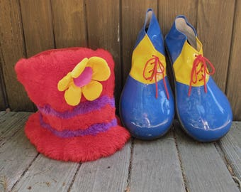 Clown Shoes & Fuzzy Hat Circus Costume Big Furry Tall Hat Cat In The Hat Red Fur Hat Oversize Clown Shoes